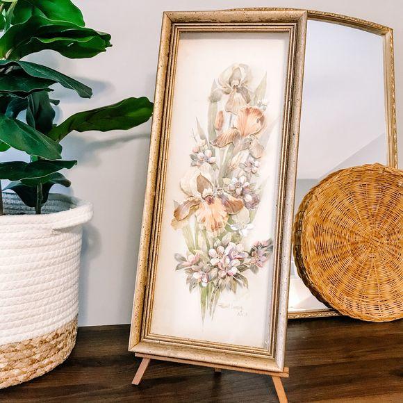 Vintage Boho Dried Gold Flower Framed Art